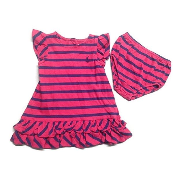 3b76c5388 Shop Ralph Lauren Baby Girls  Red and Navy Stripe Ruffle Dress ...
