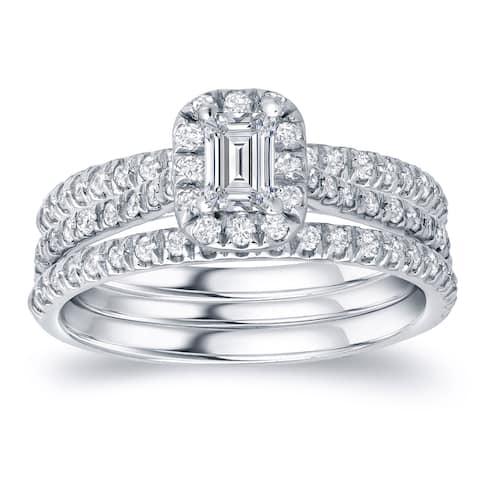 Auriya 1 1/4ctw Emerald-cut Halo Diamond Engagement Ring 3pc Set 14k Gold