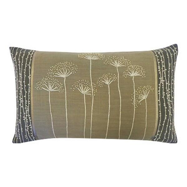 Vivai Home Grey Floral Dandelion Rectangle 12x 20 Cotton Feather Pillow