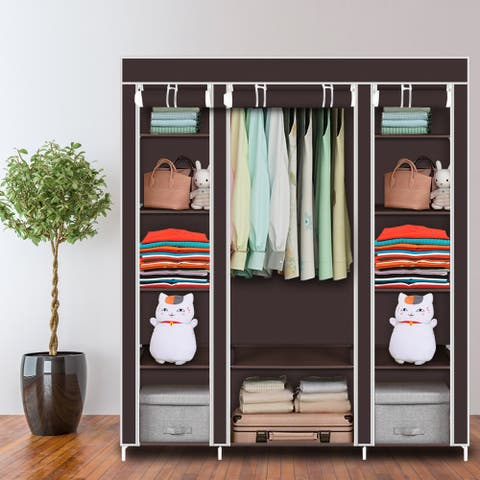 "67''/ 69"" Portable Clothes Closet Wardrobe Storage Organizer with Non-Woven Fabric"