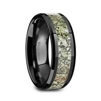 DROGON Dinosaur Bone Inlay Ceramic Men's Wedding Band  - 8mm
