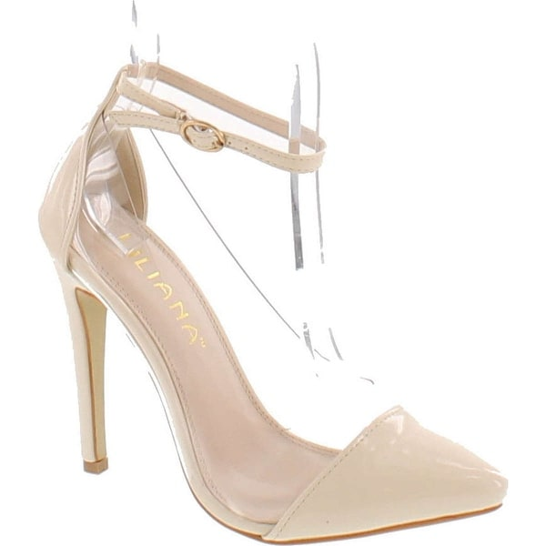 Liliana Women's Olga 1A Pointed Toe Lucite Panel Ankle Strap Heels