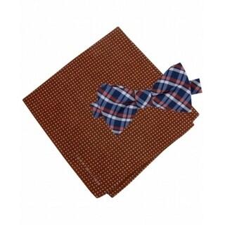 Tommy Hilfiger NEW Orange Blue Grid To-Tie Plaid Bow Tie Pocket Square Silk 255