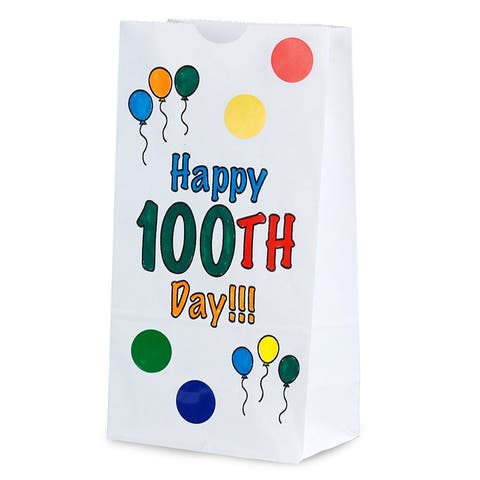 Hygloss happy 100th day paper bags 64655