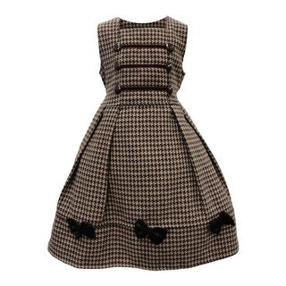 Little Girls Coffee Patterned Bow Accented Pleated Sleeveless Dress 4-6