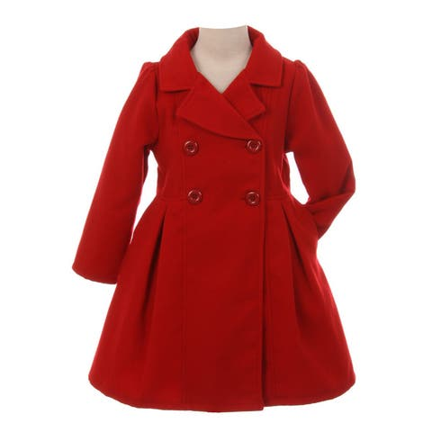 Crayon Kids Girls Red Long Sleeve Button Up Winter Dress Coat