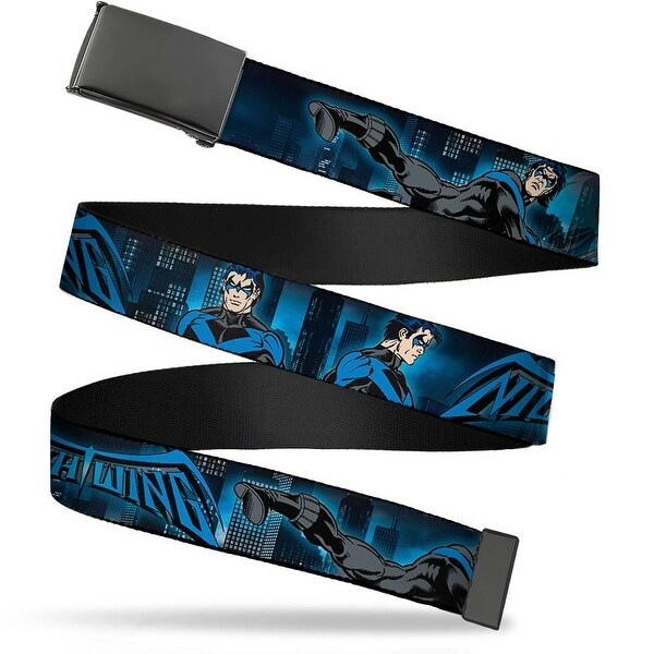 Blank Black Buckle Nightwing Action Poses Cityscape Blues Black Web Belt