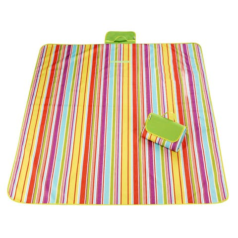 Outdoor Camping Nylon Stripe Pattern Picnic Mat Pad Light Green 145 x 200cm