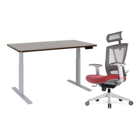 Home Office Height Adjustable Standing Desk and Ergonomic Chair Combo
