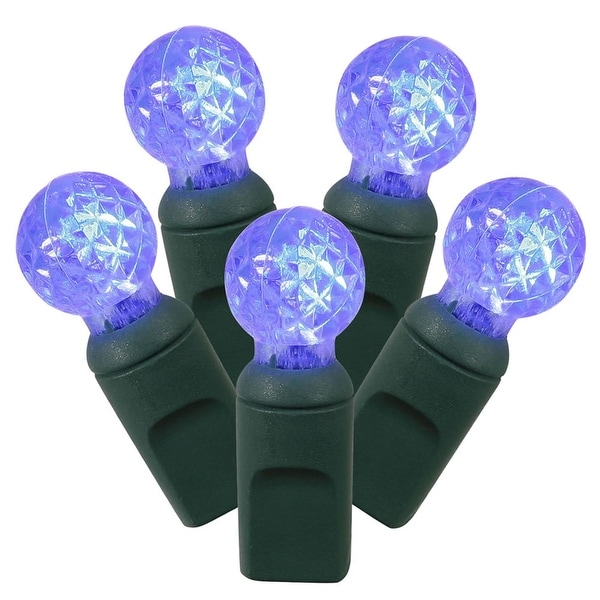 "Set of 100 Blue LED G12 Berry Christmas Lights 4"" Spacing - Green Wire"