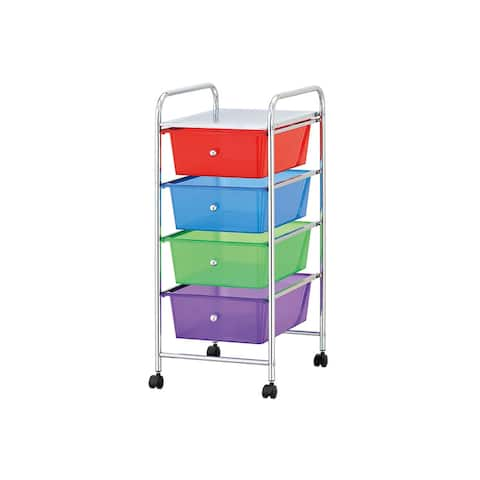 "Mind Reader 4 Drawer Storage Trolley Cart with Removable Containers - 29.92"" x 12.6"" x 14.37"""