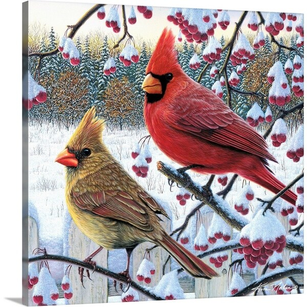 """""""Winter Cardinals"""" Canvas Wall Art"""