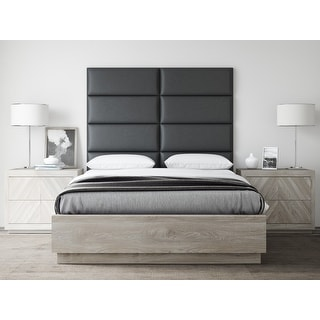 VANT Upholstered Headboards - Accent Wall Panels - Vintage Leather Black Coal - 30 Inch Queen-Full - Set of 4 panels.