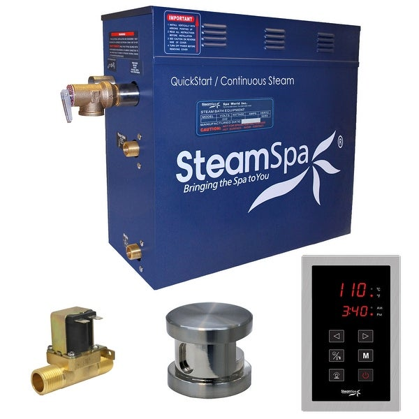 SteamSpa OAT600-A Oasis 6 KW QuickStart Acu-Steam Bath Generator Package with Built-in Auto Drain and Touch Controller