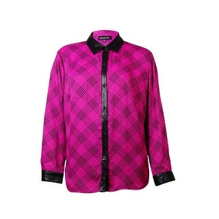 Jones New York Women's Faux Leather Houndstooth Button Down Blouse - magenta combo - 22W