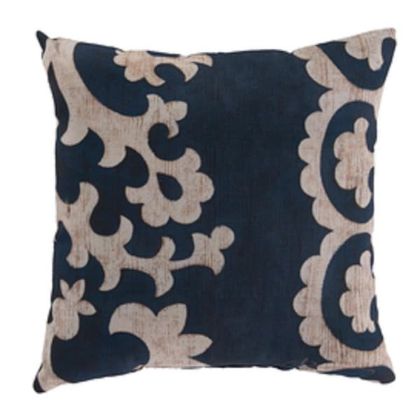 "20"" Midnight Blue and Cream Rustique Square Outdoor Pillow Shell"