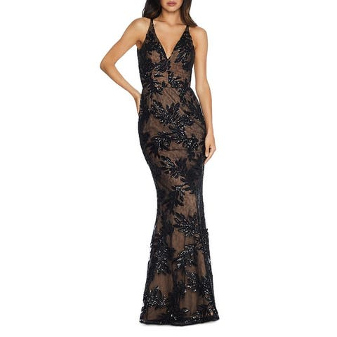 Dress The Population Womens Sharon Formal Dress Sequined Mesh Inset - Black/Nude