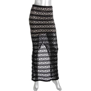 Alice + Olivia Womens Lace Overlay Back Slit Maxi Skirt - 0