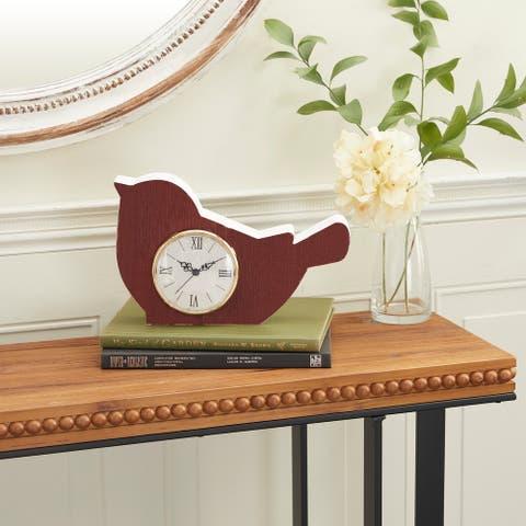Red Wood Farmhouse Clock 7 x 12 x 3 - 12 x 3 x 7