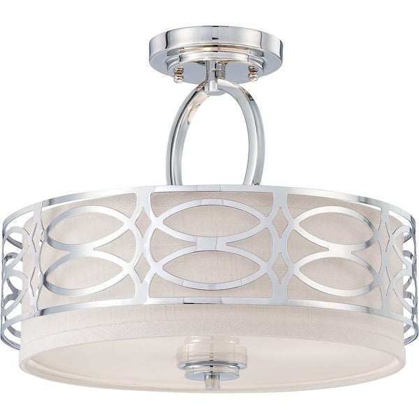 """Nuvo Lighting 60/4629 Harlow 3-Light 15"""" Wide Semi-Flush Drum Ceiling Fixture - Polished Nickel - n/a"""
