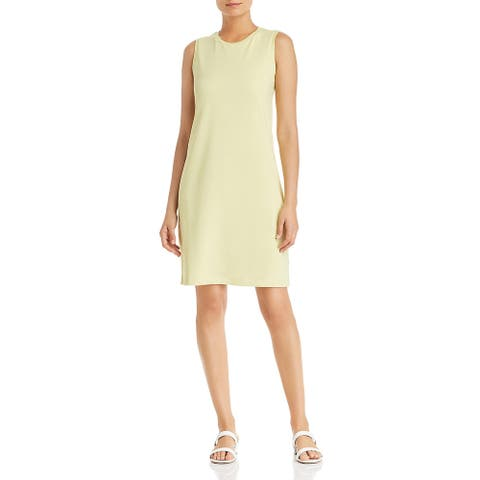 Eileen Fisher Womens Tank Dress Knit Crew Neck - Green Yellow