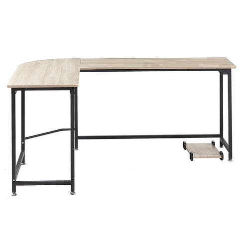 L-shape Wood Steel Corner Computer Gaming Desk