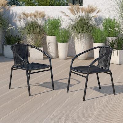 2 Pack Rattan Indoor-Outdoor Restaurant Stack Chair