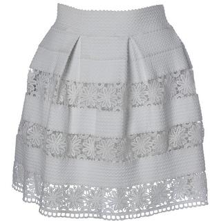 Aqua Womens Textured Lace-Trim Pleated Skirt