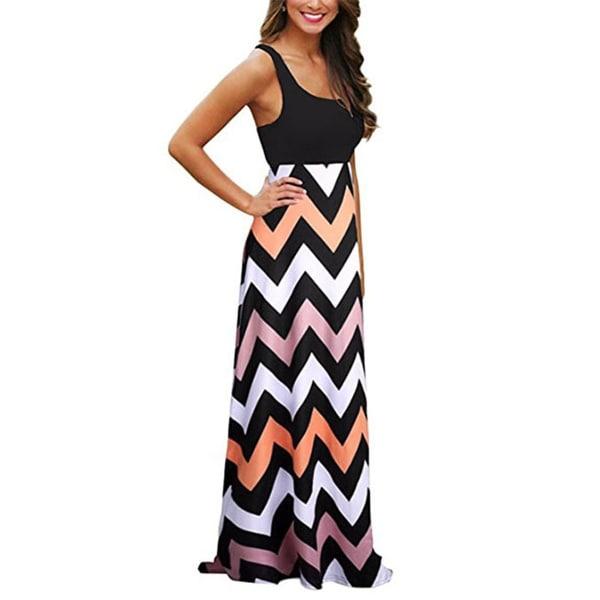 327e6f394a Shop Womens Boho Empire Chevron Tank Top Casual Maxi Long Dress ...