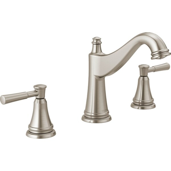 Delta 35777LF Mylan 1.2 GPM Deck Mount Widespread Bathroom Faucet with Pop-Up Drain Assembly
