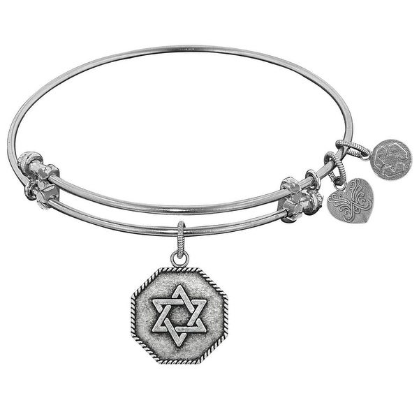 "Angelica Collection Antique Smooth Finish Brass ""star Of David"" Expandable Bangle"