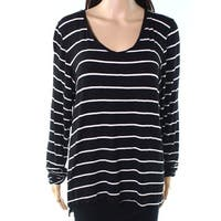 Leo & Nicole Black White Womens Size Large L Striped Knit Top
