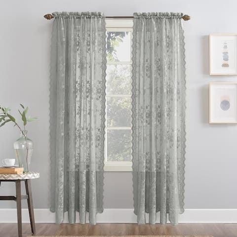 No. 918 Alison Floral Lace Sheer Rod Pocket Curtain Panel, Single Panel