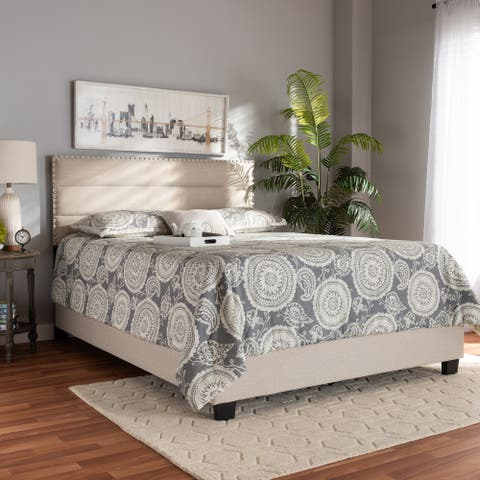 Ansa Modern and Contemporary Beige Fabric Upholstered Queen Size Bed