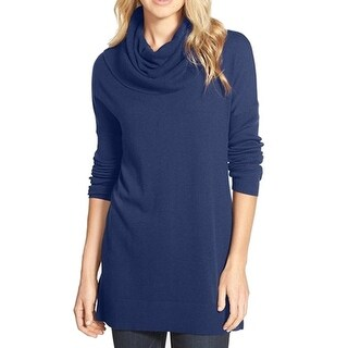 Caslon NEW Blue Women's Size Small S Side Slit Ribbed Cowl Neck Sweater