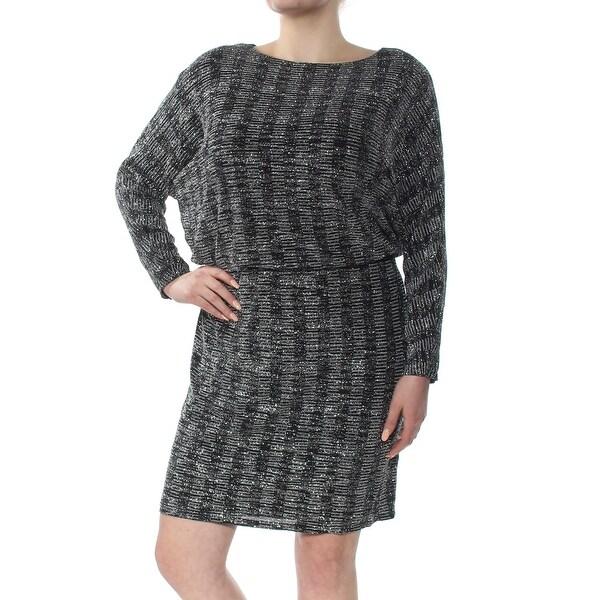 JESSICA HOWARD Womens Silver Striped Dolman Sleeve Jewel Neck Above The  Knee Blouson Dress Plus Size: 16W