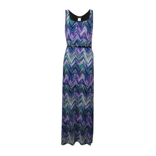 Connected Women's Chevron Printed Belted Dress