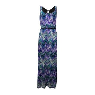 Connected Women's Chevron Printed Belted Dress - Purple