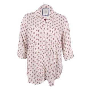Style & Co Women's Plus Size Mixed-Print Shirt - diamond dot