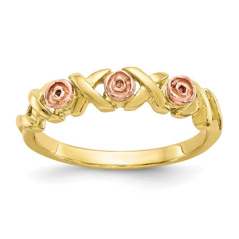 10K Yellow Gold with 12K Rose Accent High Polished Black Hills Ring