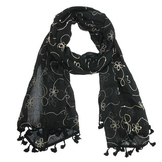 CTM® Women's Woven Floral Embroidered Shawl Scarf - Ivory - One Size