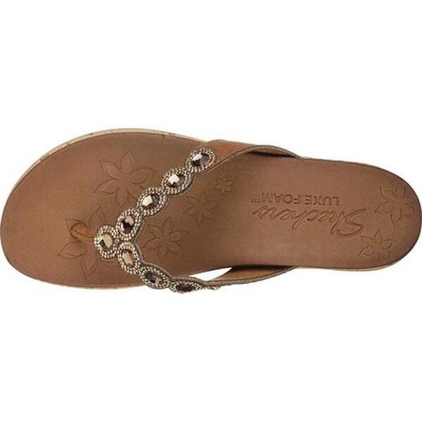 Shop Skechers Women's Beverlee Bizzy Babe Wedge Sandal Tan