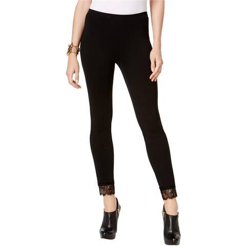 Michael Kors Womens Lace Cuff Casual Leggings, Black, X-Large