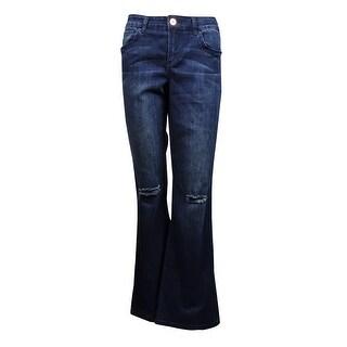 INC International Concepts Women's Regular Flared Ripped Jeans (6, Indigo) - Indigo - 6