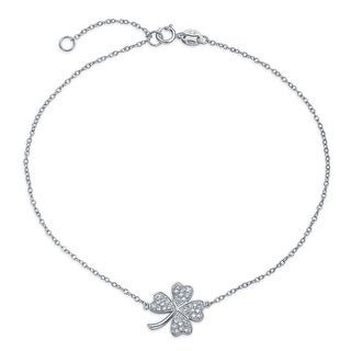 Bling Jewelry CZ Lucky Clover Sterling Silver Shamrock Ankle Bracelet 10in