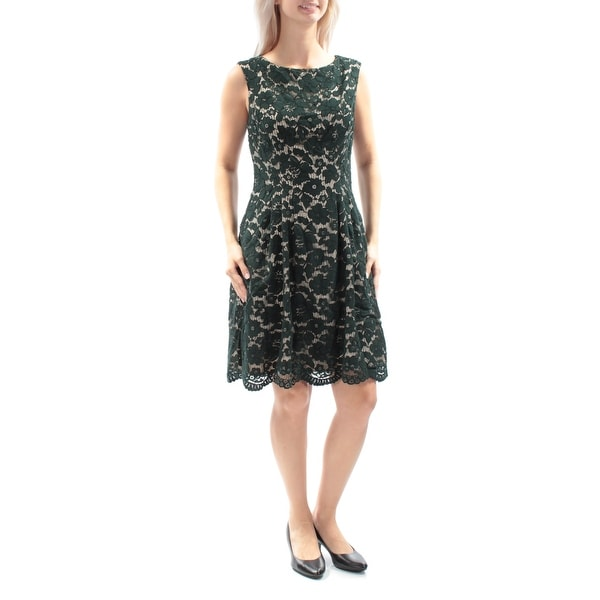 VINCE CAMUTO Womens Green Lace Sleeveless Jewel Neck Above The Knee Pleated Dress Size: 10