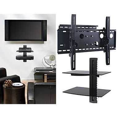 2xhome - NEW TV Wall Mount Bracket (Single Arm) & Double Shelf Package - Secure Cantilever LED LCD Plasma Smart 3D WiFi