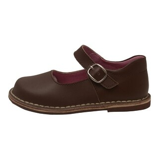 L'Amour Girls Brown Classic Matte Leather Mary Jane Shoes 4 Baby-10 Toddler