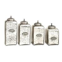 Set of 4 Vintage Style Numbered Mercury Glass Canisters with Iron Lids - Silver