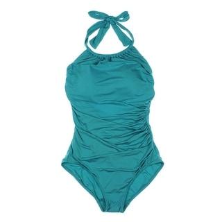 Badgley Womens Shirred Slide Halter One-Piece Swimsuit - 10